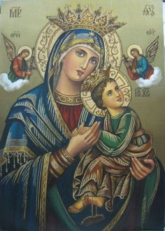 Version of Our Lady of Perpetual Succour - Crowned Blessed Mother Mary, Divine Mother, Blessed Virgin Mary, Religious Icons, Religious Art, Catholic Pictures, Jesus Christ Images, Christian Artwork, Jesus Painting