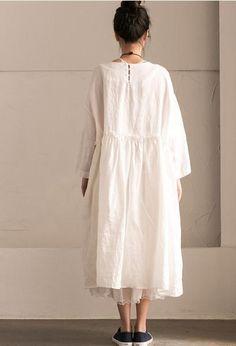 White Linen  Summer Pleated Dresses Oversize Women Clothing Q292BG