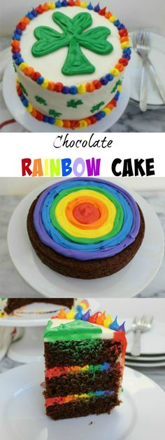 A Chocolate Rainbow Cake is the perfect cake to celebrate St. Een Chocolate Rainbow Cake is de perfecte cake om St. Patrick's Day of elke dag te vieren. Cake Recipes, Dessert Recipes, Pie Dessert, Rainbow Food, Rainbow Cakes, Rainbow Frosting, Bolo Cake, Creative Cakes, Cakes And More
