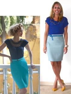 royal/cobalt blue top w/ turquoise or light/baby blue skirt