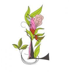 floral font 2 letter l vector