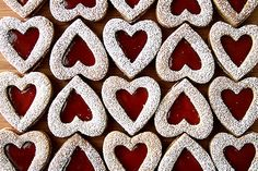 LINZER COOKIES HEARTS; my mommy makes these for my dad every valentines day