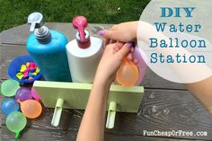 DIY Water Balloon Station using old shampoo bottles! Easiest way to fill and tie water balloons...like, ever.