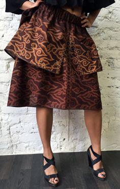 Designer double-layered Bali Vulcano skirt. Made of ethnic cotton.