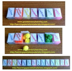 Come learn how to take pill boxes and pompoms and make a place value activity at Learning Specialist and Teacher Materials - Good Sensory Learning Blogspot