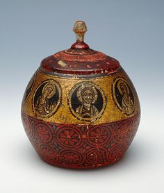 Reliquary in the Form of a Ball  --  Circa 1160-80  --  German  (Hildesheim)  Painted maple  --  This artwork is part of Medieval Treasures from Hildesheim at the Metropolitan Museum of Art.
