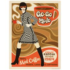 """Mod Coffee Go Go Mojo Mini Vinyl Sticker. Vintage-style sticker printed on premium vinyl. Perfect for decorating kitchen appliances, smartphones, tablets, laptops, car windows, bumpers, luggage, and more. 1.5 x 2 in. Made in the USA. Officially licensed by Anderson Design Group, Inc."""