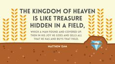 The kingdom of heaven is like treasure hidden in a field, which a man found and covered up. Then in his joy he goes and sells all that he has and buys that field. —Matthew 13:44