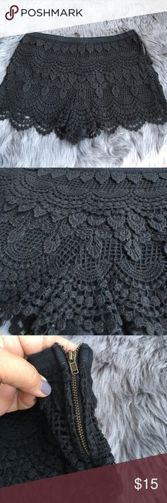 Lush size XS sexy black lace shorts EUC Super cute super sexy black lace shorts are fully lined feature a side zipper for snug fit with no bulk.  Lace is overlay. Waistband is covered in fabric.  Size XS by Lush.  EUC.  Hand washed on cold and hung to dry.  Little to no signs of wear. Lush Shorts
