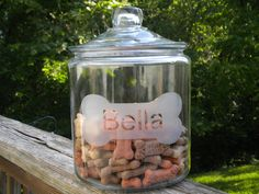 Etched Dog Treat Jar or Cookie Jar  One gallon jar by jaclynsglass, #cgge, #creative glass guild