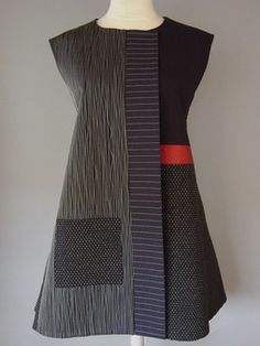 Princess Line Vest with Abstract Flowers and Navy Accent: Uncommon Textiles by Juanita Girardin