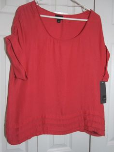 Mossimo cap sleeve blouse top Inca red NWT Size L Polyester Career #Mossimo #Tunic #Career