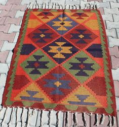 Your place to buy and sell all things handmade Ikat Pillows, Wool Pillows, Wool Rug, Bohemian Pattern, Bohemian Rug, Handmade Furniture, Handmade Rugs, Tapete Floral, Couture Embroidery