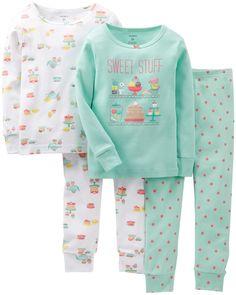 Amazon.com: Carter's Little Girls' 4 Piece Pant PJ Set (Toddler/Kid) - Tea Party: Clothing