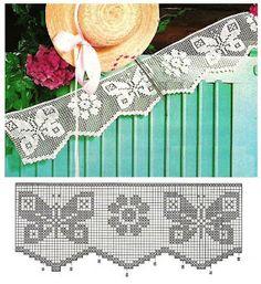 Szydełkomania: Bordiury Filet Crochet Charts, Crochet Borders, Crochet Diagram, Crochet Motif, Knit Crochet, Crochet Patterns, Crochet Home, Love Crochet, Double Crochet