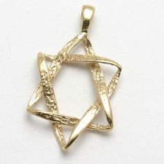 Religious by Jewelry America Solid 14k Yellow Gold Textured Hebrew Star of David Pendant