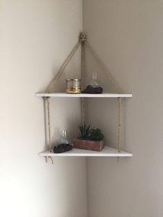 Hanging Rope Corner Shelf by IndustrialFarmFinds on Etsy https://www.etsy.com/listing/500199848/hanging-rope-corner-shelf