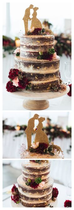Wedding cake | red velvet semi-naked cake with cream cheese frosting. Decorated in gold leaf and rich burgundy and soft pink florals, foliage and succulents. Custom cake topper covered in glitter! Marble cake plate.  Photography | Hello Sweetheart Cake | Piece of E Florals | The Hunted Yard Sydney based service providers.