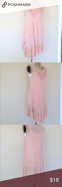 Peach BOHO Dress free flow one size beaded Boho free flow dress. Beaded detail. Never Worn or washed but some of the beads need tightening so I am offering this beauty at a super low price. Last photo best represents color (peach). length: 36in under arm to under arm: 20 in..No trades, open to Offers  Rina  Dresses High Low