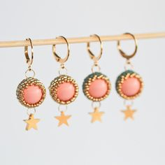 Items similar to Beaded earrings with gold star and light coral Swarovski pearls - Golden Star earrings with Miyuki beads (ID: on Etsy Handmade Jewellery, Etsy Jewelry, Earrings Handmade, Unique Jewelry, Star Earrings, Beaded Earrings, Silver Earrings, Drop Earrings, Handmade Shop
