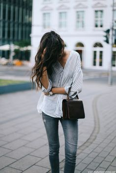 Relaxed striped shir