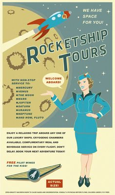 Solar system travel posters Rocketship Tours