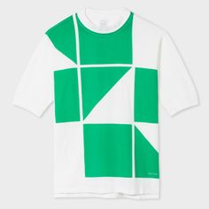 Paul Smith Men's White And Green Geometric Print Mock-Neck T-Shirt
