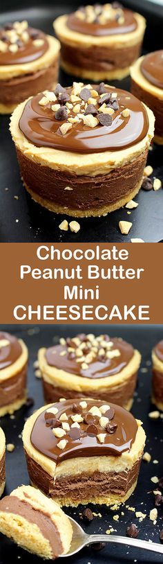 No Bake Chocolate Peanut Butter Mini Cheesecake Chocolate and peanut butter… Do you like this combination? If your answer is yes, we have an awesome dessert for you – No Bake Chocolate Peanut Butter Mini Cheesecake ♥ Cream Cheese Desserts, Mini Desserts, Easy Desserts, Delicious Desserts, Beste Desserts, Yummy Food, French Desserts, Chocolate Topping, Chocolate Peanut Butter