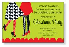 A trendy Holiday design of two ladies in heels and printed skirts. A fashionable Christmas invitation for a ladies only soiree or any Holiday party! Printed only on premium fine quality 80 lb. card stock. Available either blank or personalized. Includes white envelope.