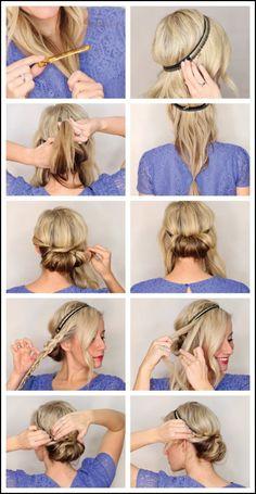 Frisuren mit Haarband anleitung-eindrehfrisur-zopf | Frisuren ... #Frisuren #HairStyles Heute wählen Knoten Schnittwunde zu Händen Casual zu Teil aussehen. Die Zugabe von Kopfband in Knoten Schnittwunde verbessert seine Wirksamkeit und ...