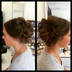 Beautiful hair up, loose messy curls, bridal hair, formal hair, messy bun