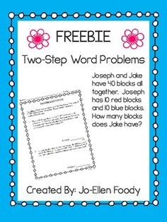 Word problems are challenging for so many students. This will help you to teach, reinforce, or review to help your students master this skill. Either 1 or 2 problems on a page - you choose what works for your students. Answer key is included! More coming - - be sure to follow me!Common Core Aligned: 2.OA.A1