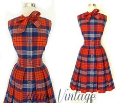 50s 60s Vtg Holly Hoelscher Cotton Holiday PLAID by danevintage, $245.00