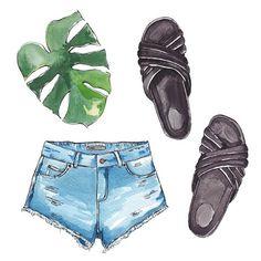 Good objects - Holiday essentials  @isabelmarant  #slides @mango #denim #tropical #goodobjects