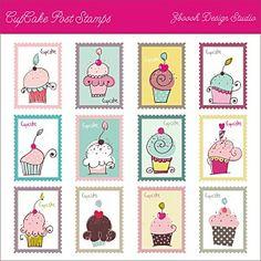 Cupcake Post Stamps