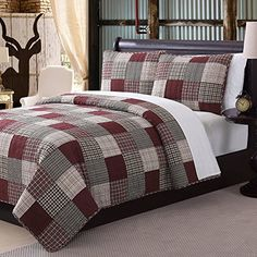 3 Piece Rustic Red Grey Tan Queen Quilt Set Plaid Tartan Patchwork Themed Bedding Cottage Cabin Country Vintage Western Lodge Square Block Burgundy Tan Beautiful Shabby Chic Cotton Polyester ** Learn more by visiting the image link. Maroon Bedroom, Burgundy Bedroom, Bedroom Red, Plaid Quilt, Grey Quilt, Twin Quilt, Indian Home Decor, Queen Quilt, Panel Quilts