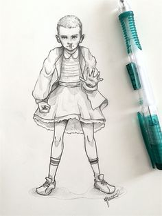 I JUST WANT HER TO BE HAPPY AND EAT ALL THE WAFFLES SHE WANTS. (Eleven from… Stranger Things Have Happened, Eleven Stranger Things, Stranger Things Netflix, Character Drawing, Character Design, Fandom Crossover, Illustration Art, Illustrations, Strange Things