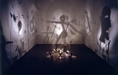 Christian Boltanski, Theater of Shadows, 1990. Sixteen's objects (Metal, card board, wire, cassette tape, tree, leaves and more), projector, fan, converter. Variable. Photo: André Morain Courtesy the artist and Marian Goodman Gallery