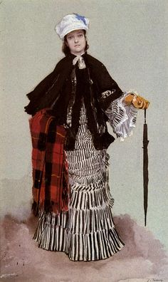 James Jacques Joseph Tissot (1836-1902)  A Lady in a black and white Dress  Watercolour and gouache on pap