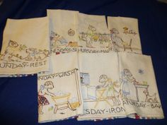 Kitchen Towels Vintage Day of Week Embroidery Dogs Multi Stripes on Etsy, $32.00
