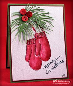 PP275 Paper Players Endless Wishes Gina Marie Pine Needle Die Watercolor Color Challenge Christmas Mittens