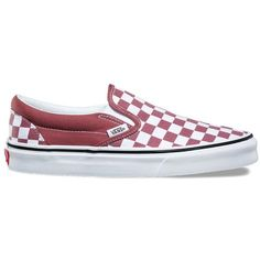 Vans Checkerboard Slip-On ($50) ❤ liked on Polyvore featuring shoes, sneakers, red, pull on sneakers, vans shoes, rubber sneakers, rubber shoes and slip-on sneakers