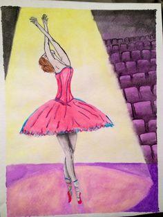 Watercolor ballerina painting