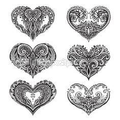Conjunto de corazones de vector dibujado a mano hermoso estilo zentangle — Vector de stock
