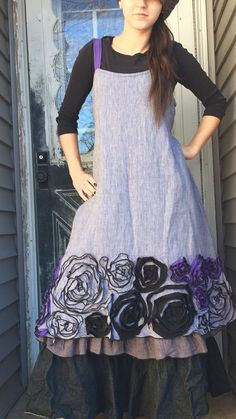 Purple Linen Rose Dress S by sarahclemensclothing on Etsy