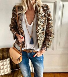 Sequin Jacket With Tassel Beaded Necklace And Leather Accessory Perfect For Boho Style