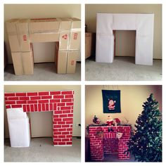 Build a cardboard fireplace to hang your Christmas stockings christmas fireplace Top 30 Lovely and Cheap DIY Christmas Crafts Sure to Wow You - HomeDesignInspired Christmas Hacks, Christmas Projects, Christmas Holidays, Christmas Room, Merry Christmas, Happy Holidays, Christmas Program, Father Christmas, Diy Christmas Boxes