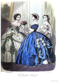 Townsend's monthly selection of Parisian costumes 1859 Victorian Era Fashion, 1800s Fashion, Vintage Fashion, Vintage Tea Party Dresses, Vintage Outfits, Historical Costume, Historical Clothing, Civil War Fashion, Fairytale Dress