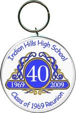 Class Reunion Favors in Classic Emblem Design - available as key rings, magnets, buttons or pocket mirrors. Personalized with your school name, colors and year. More class reunion favors at  http://www.photo-party-favors.com/class-reunion-favors.html