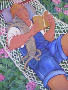 Paintings with people and cats. Anne Pentland